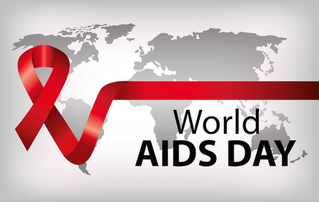 Banner of world aids day with ribbon