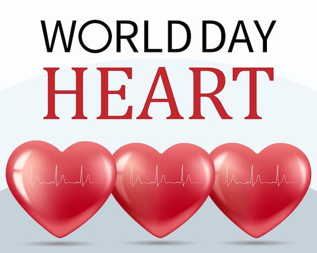 Баннер всемирный день сердца 29 сентября. реалистичная иллюстрация. белый фон. вектор.