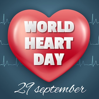 Banner world heart day 29 september. red heart and cardiogram.