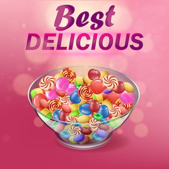Banner written best delicious on pink background.