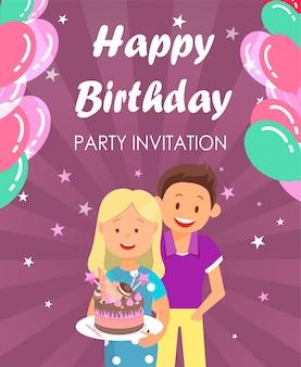 Banner written happy birthday party invitation.