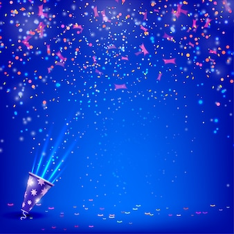 Banner for your holiday with confetti and streamers on a blue background.