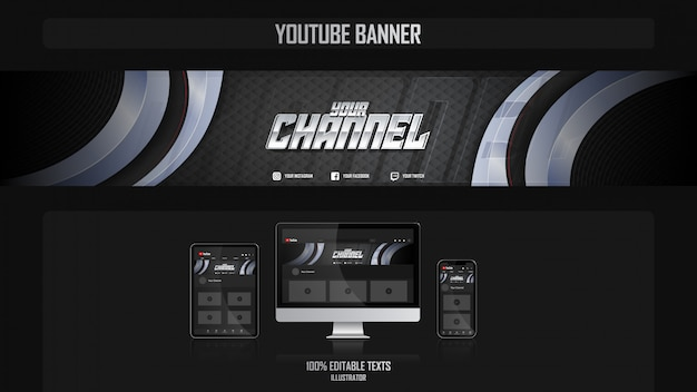 Banner for youtube channel with aerobic concept