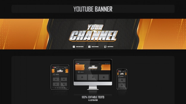 Banner for youtube channel with fitness concept