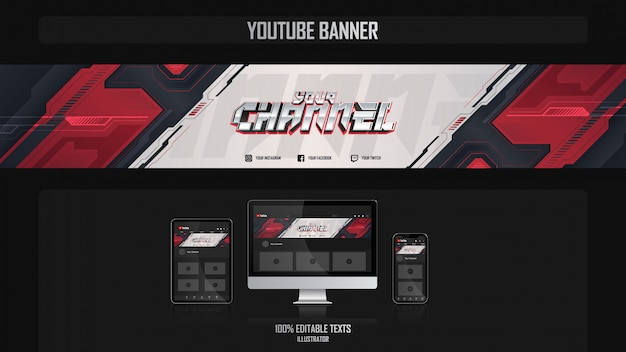 Banner for youtube channel with futuristic concept