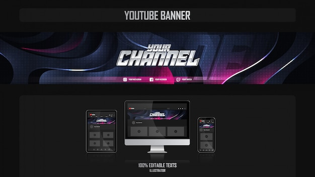 Banner for youtube channel with gamer concept