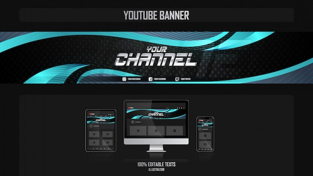 Banner for youtube channel with harmonious concept