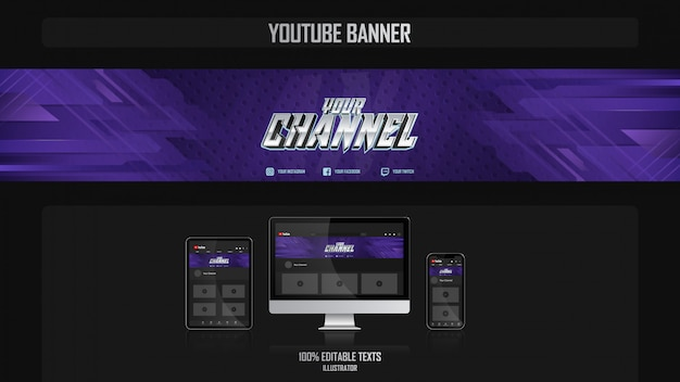Banner for youtube channel with music concept
