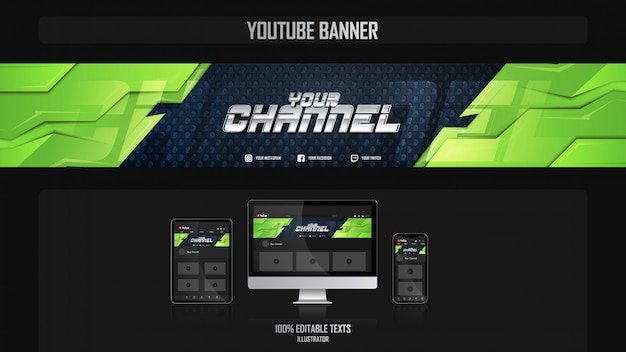 Banner for youtube channel with sport concept