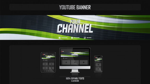 Banner for youtube channel with sport style concept
