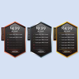 ブロンズシルバーゴールドシンプルな価格表プランまたはbannerorバナー