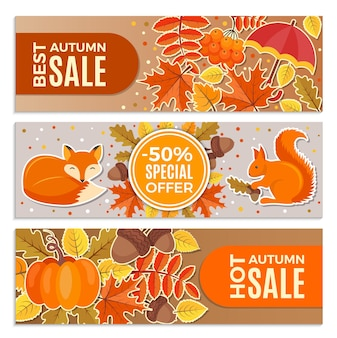 Banners of autumn sales. autumn leaves, squirrel, fox and acorns  illustrations for discount horizontal banners