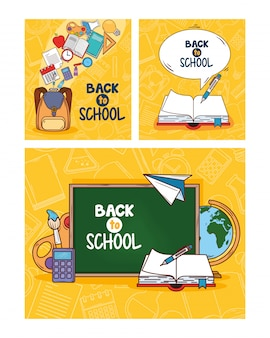 Banners of back to school and supplies education