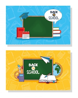 Banners of back to school, and supplies education