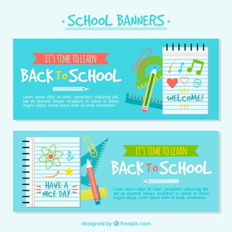 Banners of back to school with books
