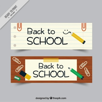 Banners for back to school with pencils and clips