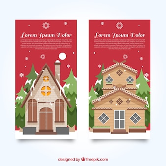 Banners of beautiful christmas homes in flat design