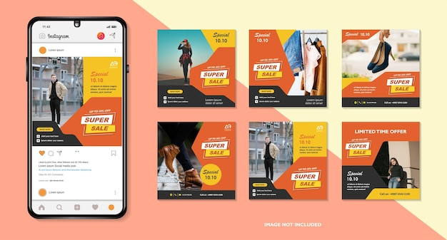 Banners bundle kit set of social media instagram story layout composision smartphone template