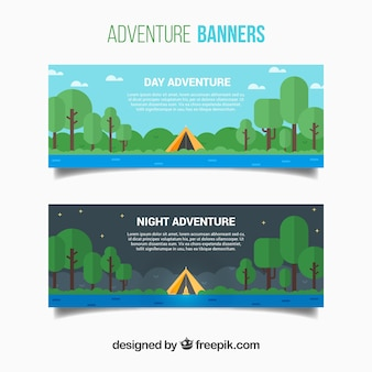 Banners of camp in flat design