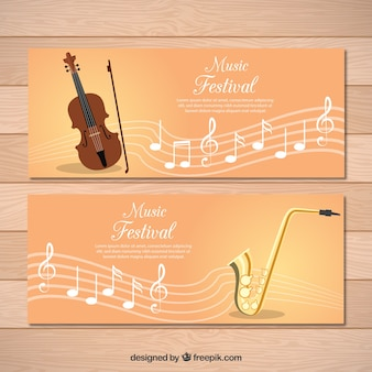 Banners of classical music with pentagram and violin