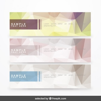 Banners collection with polygonal shapes