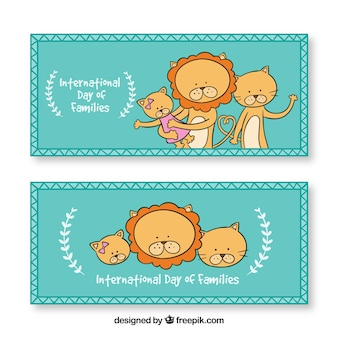Banners of cute lions for international day of families