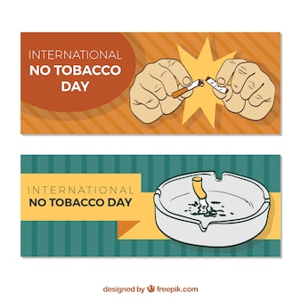Banners of the day anti-smoking with ashtray