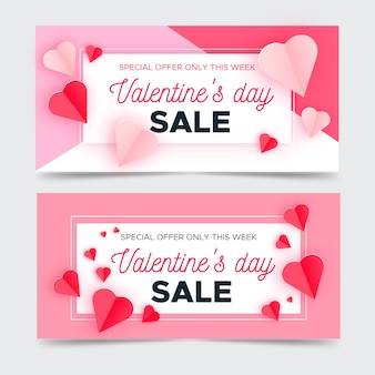 Banners design for sales on valentines day