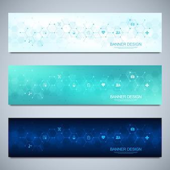평면 아이콘 및 기호로 의료 및 의료 장식을 위한 배너 디자인 템플릿
