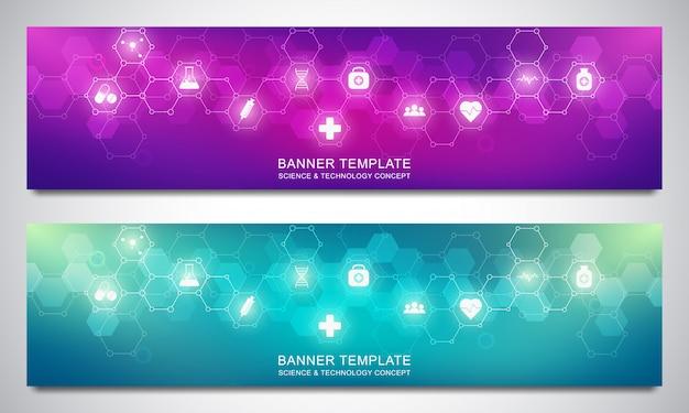 Баннеры дизайн шаблона для здравоохранения и медицинского оформления с плоскими значками и символами.