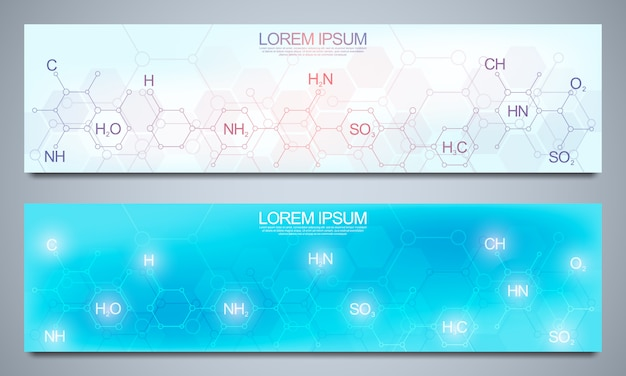 Banners design template and headers for site with abstract chemical formulas. science and innovation technology concept. decoration website and other ideas.