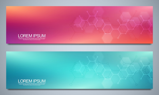 Banners design template and headers for site with molecular structures. science, medicine and innovation technology concept. decoration website and other ideas.