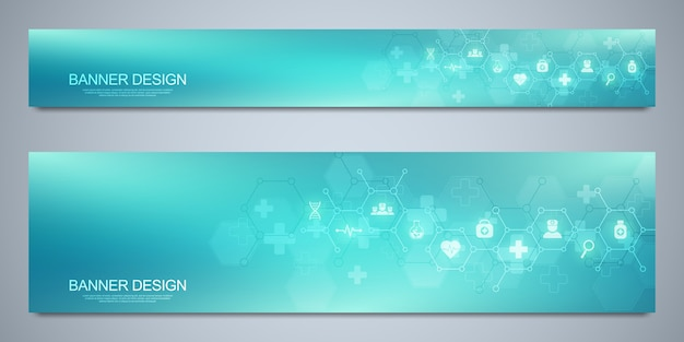 Banners design template for healthcare and medical decoration with flat icons and symbols. science, medicine and innovation technology concept.
