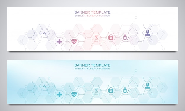Banners design template for healthcare and medical decoration with flat icons and symbols.