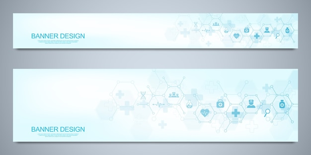Banners design template for healthcare and medical decoration with flat symbols. science, medicine and innovation technology concept.