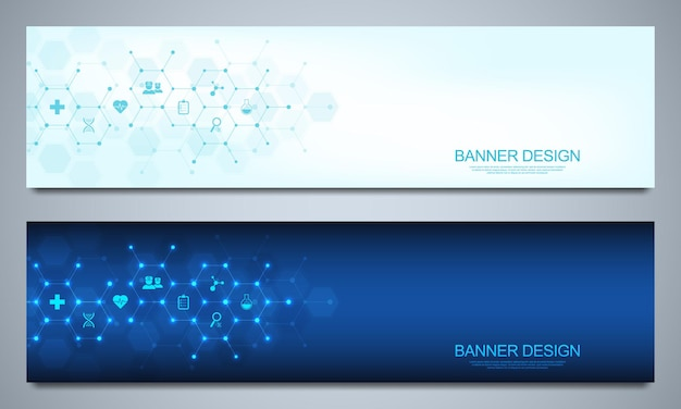 Banners design template for healthcare and medical decoration Premium Vector