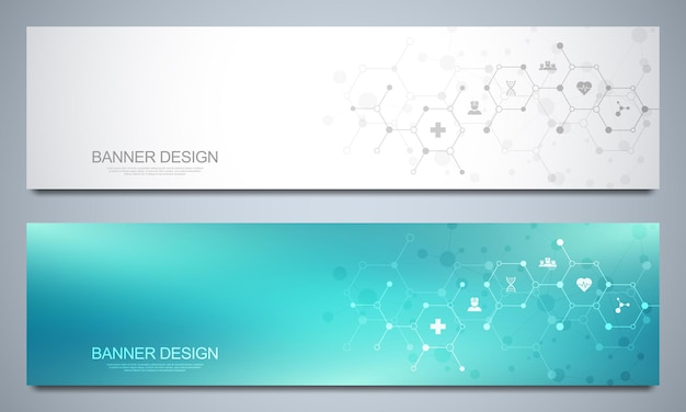 Banners design template for healthcare and medical decoration