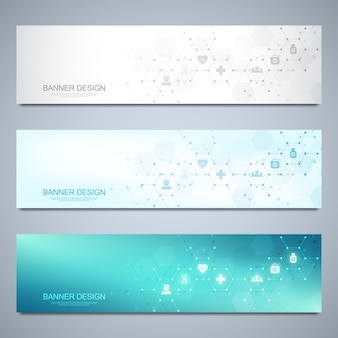 Banners design template for healthcare and medical flat icons and symbols