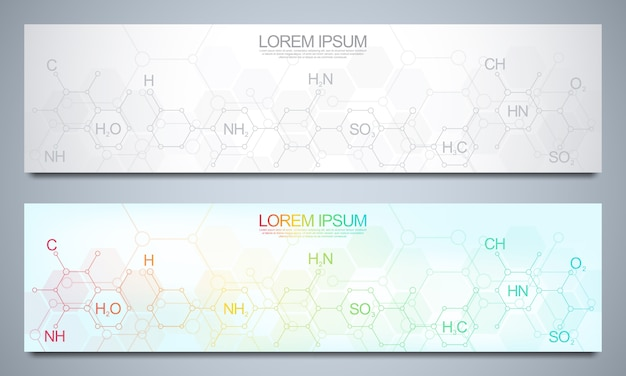 Banners design template with abstract chemistry background and chemical formulas. science and innovation technology concept.