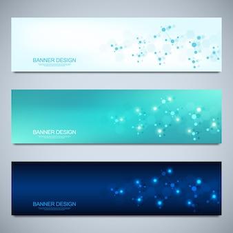 분자 구조와 신경망이 있는 배너 디자인 템플릿
