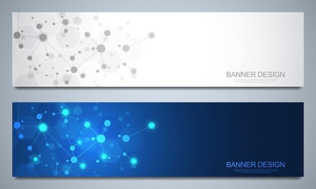 Шаблон дизайна баннеров с молекулярными структурами и нейронной сетью