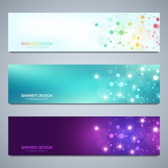 Banners design template with molecular structures and neural network. abstract molecules and genetic engineering background. science and innovation technology concept.