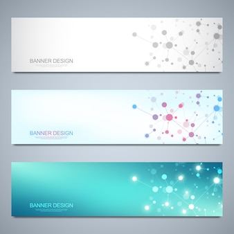 Banners design template with molecular structures and neural network. science and innovation technology concept.