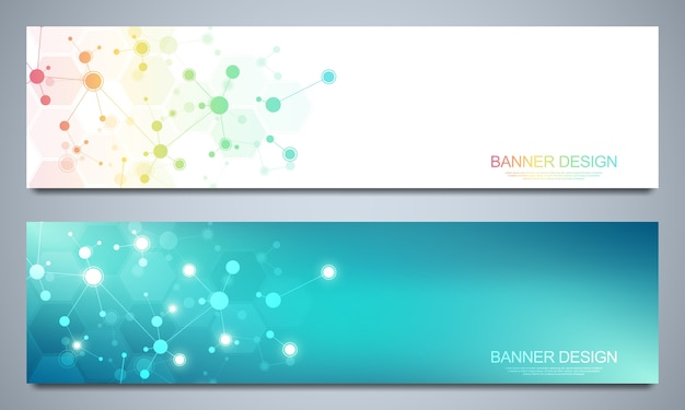 Banners design template with molecular structures and neural network