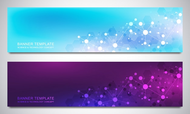 Banners design template with molecules background and neural network. science and technology background of genetic engineering or laboratory research.