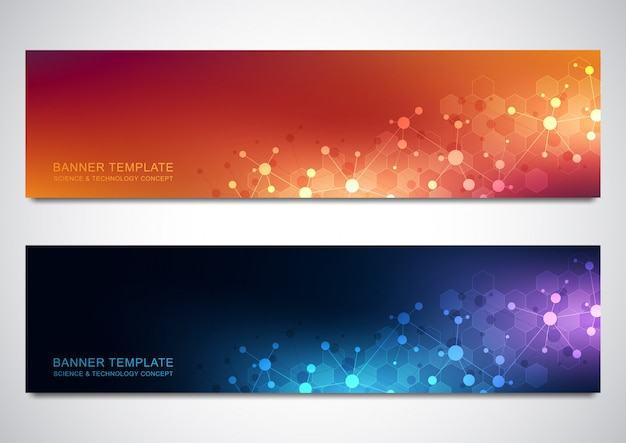 Banners design template with molecules background and neural network