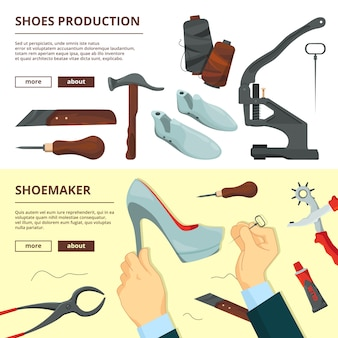 Banners design template with shoe repair tools