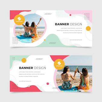 Banners design with summer photos