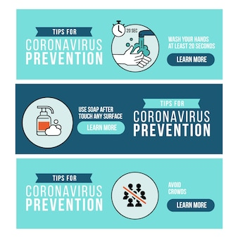 Banners designs collection for coronavirus prevention