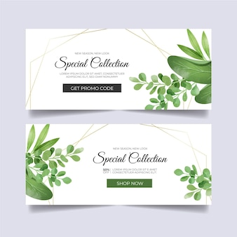 Banners designs with floral ornaments